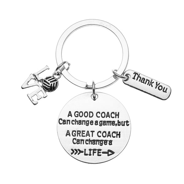 Volleyball Coach Keychain, Great Coach Can Change a Life Keychain