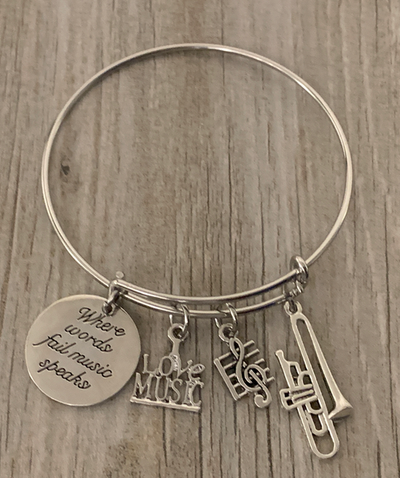 Trumpet Bracelet - Where Words Fail Music Speaks Bangle