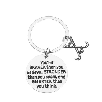 Field Hockey Keychain - You're Braver than You Believe
