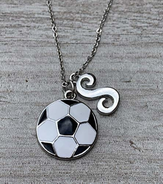 Personalized Girls Soccer Necklace with Letter Charm