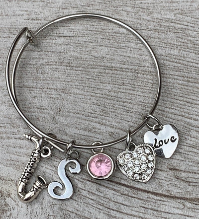 Personalized Saxophone Charm Bangle Bracelet