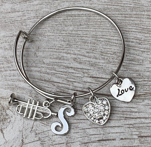 Personalized Trumpet Charm Bangle Bracelet with Letter Charm