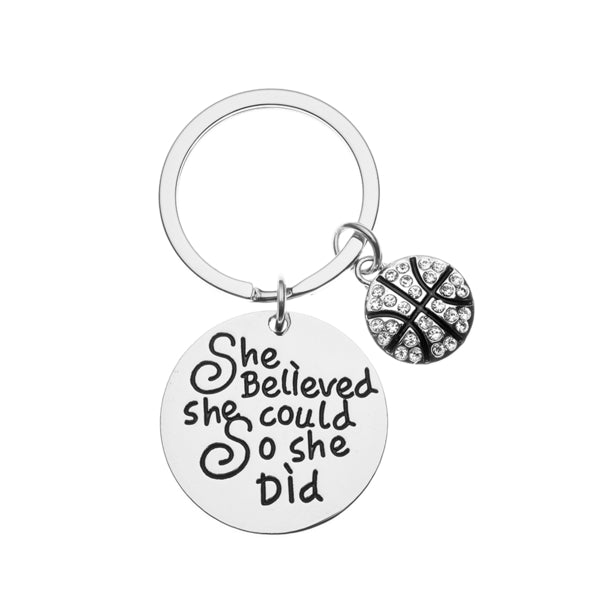 Basketball Keychain - She Believed She Could So She Did