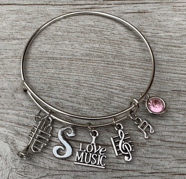 Personalized Trumpet Charm Bangle Bracelet with Letter Charm & Birthstone
