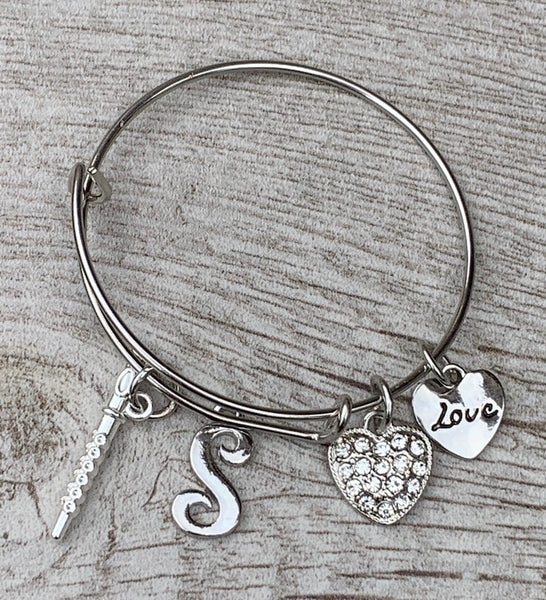 Personalized Flute Charm Bangle Bracelet with Letter Charm