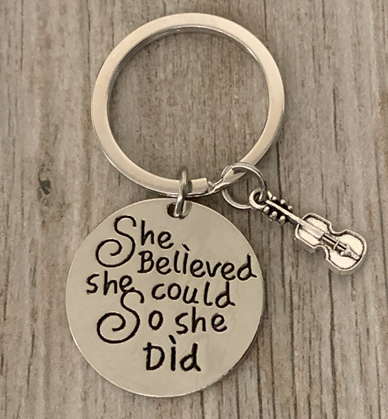 Violin Keychain - She Believed She Could So She Did