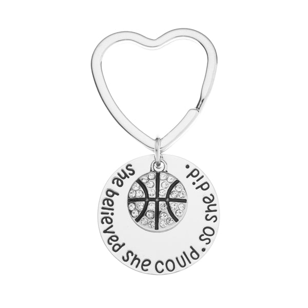 Basketball Keychain - Rhinestone She Believed She Could So She Did