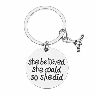 Ice Hockey She Believed She Could So She Did Keychain