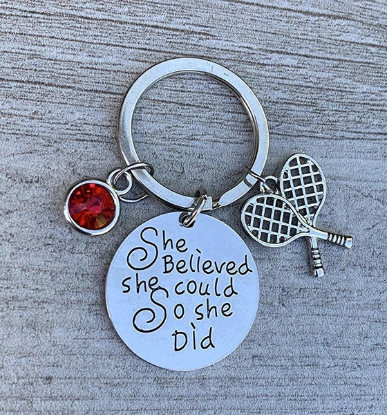 Personalized Tennis She Believed She Could So She Did Keychain