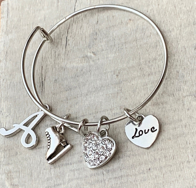Personalized Girls Figure Skating Bangle Bracelet