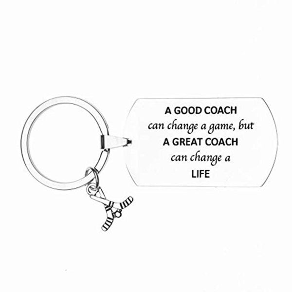 Ice Hockey Coach Keychain, Good Coach Can Change a Game But a Great Coach Can Change a Life
