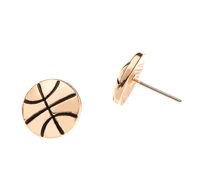 Basketball Rose Gold Stud Earrings