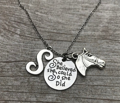 Personalized Equestrian Necklace - She Did She Could