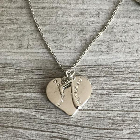 Personalized Softball Heart Necklace