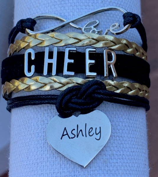 Personalized Cheer Bracelet with Engraved Heart
