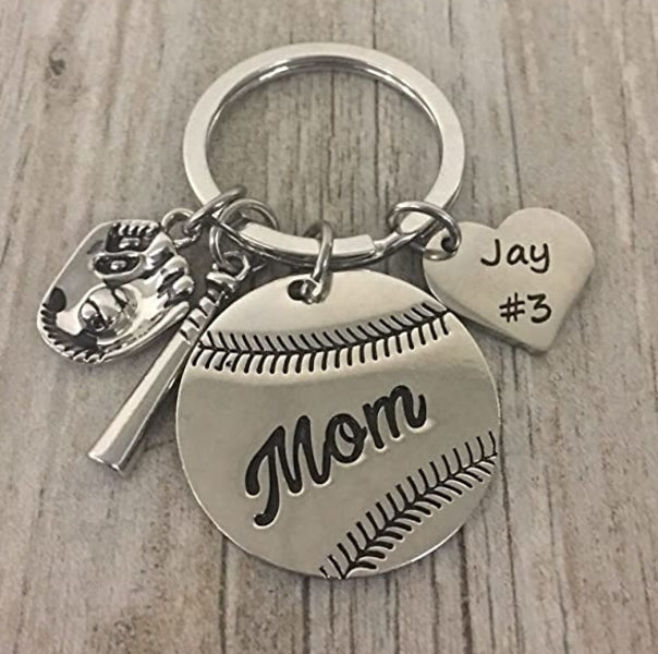 Baseball Mom Keychain - Personalized Engraved Keychain