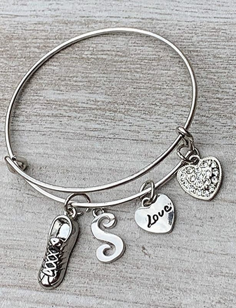Personalized Running Shoe Charm Bangle Bracelet