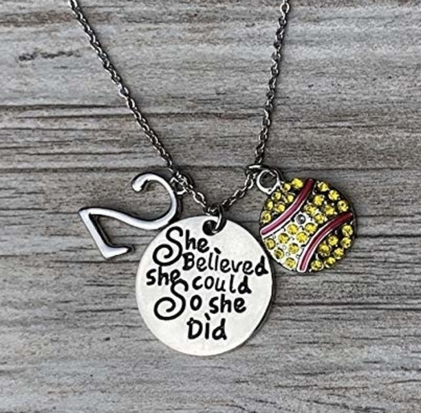 Softball Necklace - She Believed She Could So She Did Necklace with Number Charm