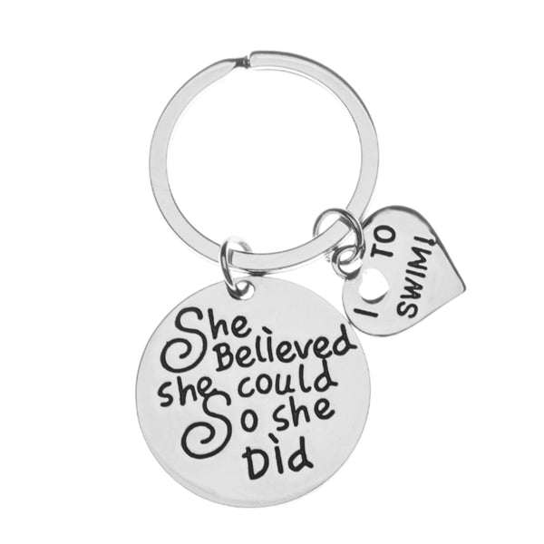 Girls Swim Keychain- She Believed She Could So She Did