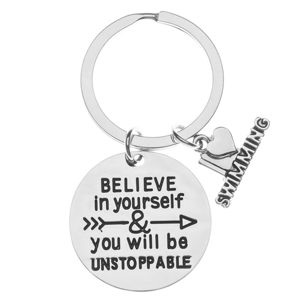 Girls Swim Keychain- Believe In Yourself gift