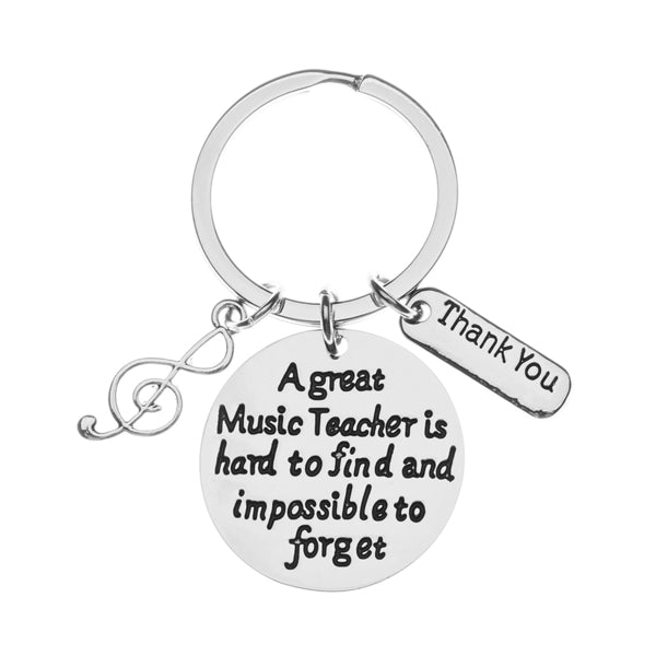 Music Teacher Keychain- Great Music Teacher Is Hard to Find Keychain