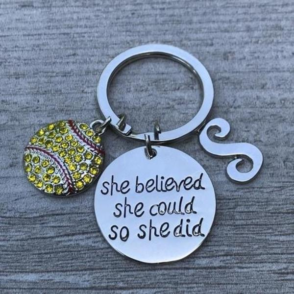 Personalized Softball Keychain with Letter Charm