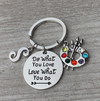 Personalized Artist Paint Palette Keychain, Do What You Love Painters Jewelry