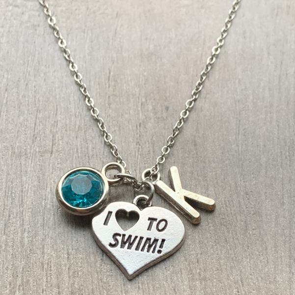Personalized Girls Swim Necklace with Birthstone & Letter Charm