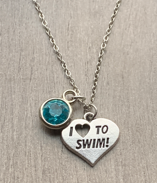 Personalized Girls Swim Necklace with Birthstone