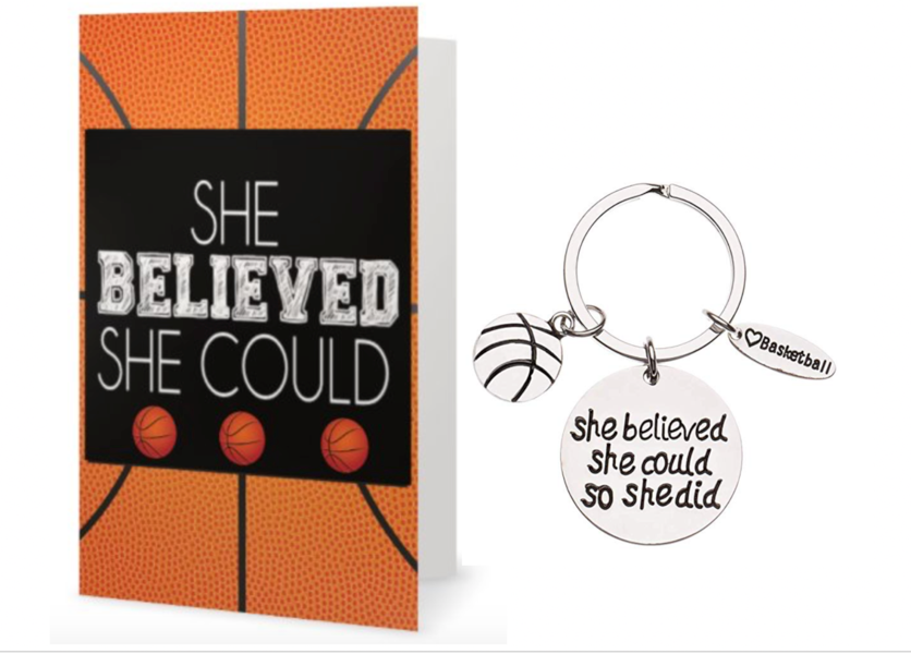 Basketball She Believed She Could So She Did Keychain & Card Gift Set