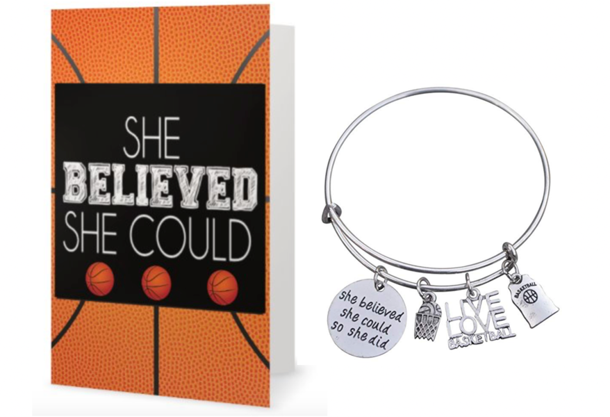Girls Basketball She Believed She Could She Did Bangle Bracelet & Card