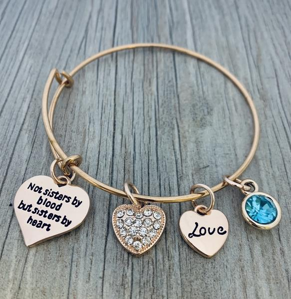 Personalized Friends Bracelet - Not Sisters By Blood But Sisters By Heart Jewelry - sportybella