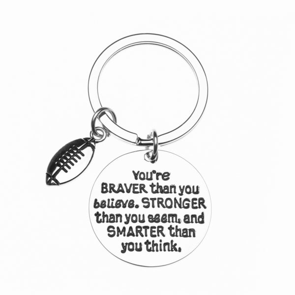 Football Keychain - Inspirational You're Braver than you Believe