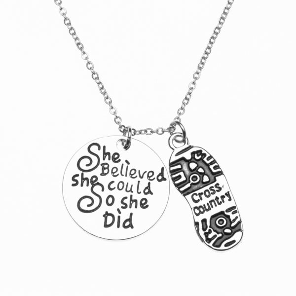 Cross Country She Believed She Could Necklace