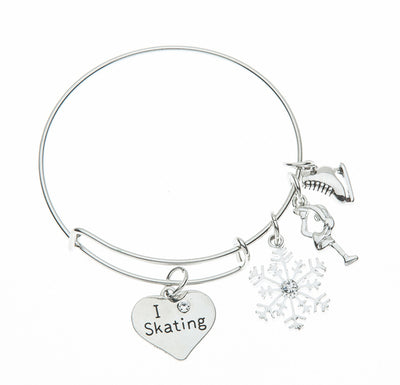 Girls Figure Skating Bangle Bracelet