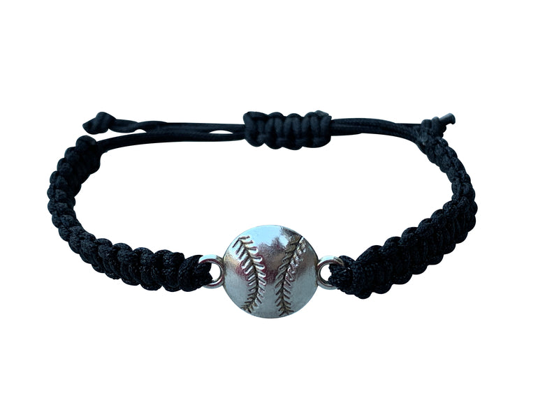 Baseball Adjustable Rope Bracelet - Black