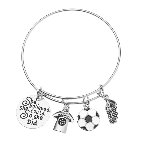 Soccer She Believed She Could So She Did Bangle Bracelet