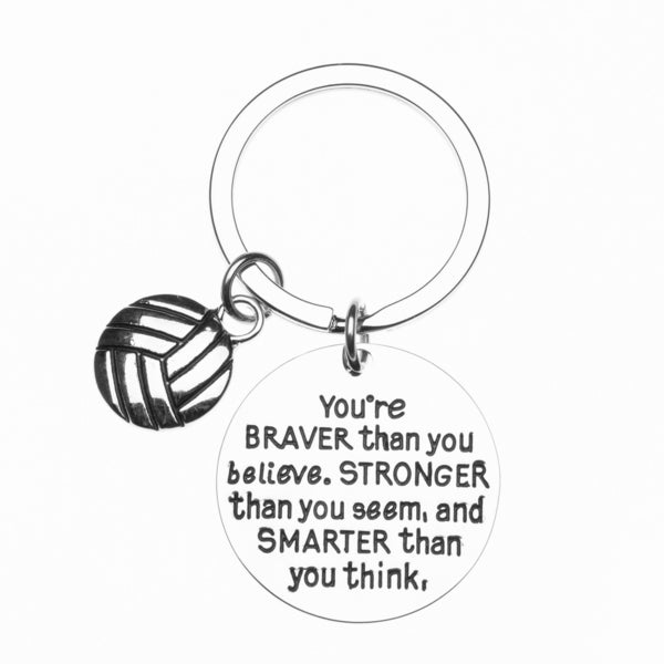 Inspirational You're Braver than you Believe Volleyball Keychain