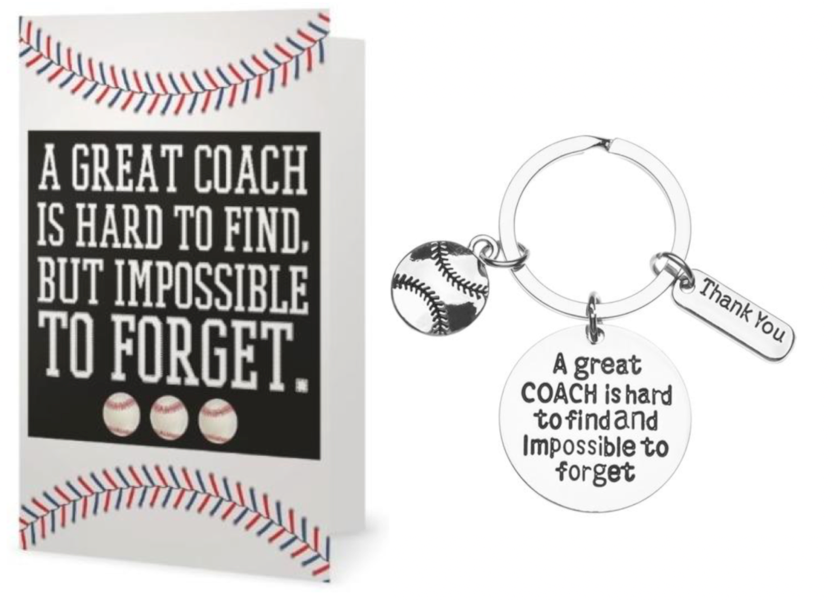Baseball Coach Card & Keychain Gift Set