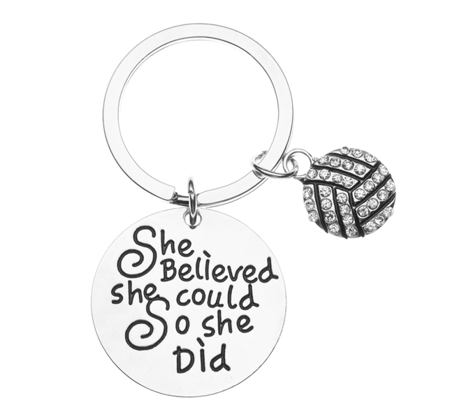 Volleyball Rhinestone Keychain - She Believed She Could So She Did