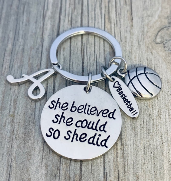 Personalized Basketball She Believed She Could So She Did Keychain