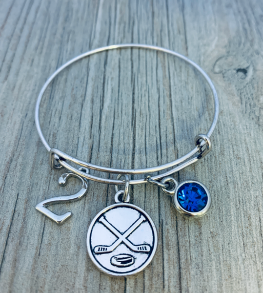 Ice Hockey Birthstone & Number Bangle