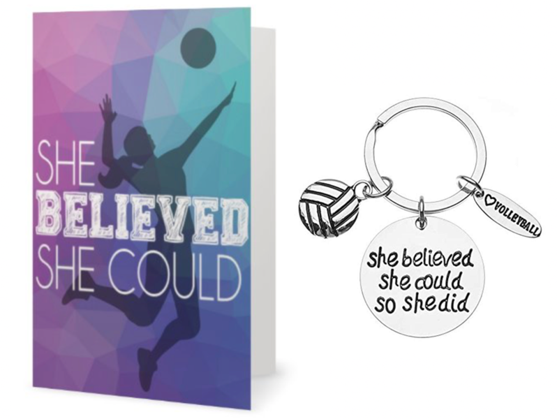 Volleyball Keychain & Card Gift Set