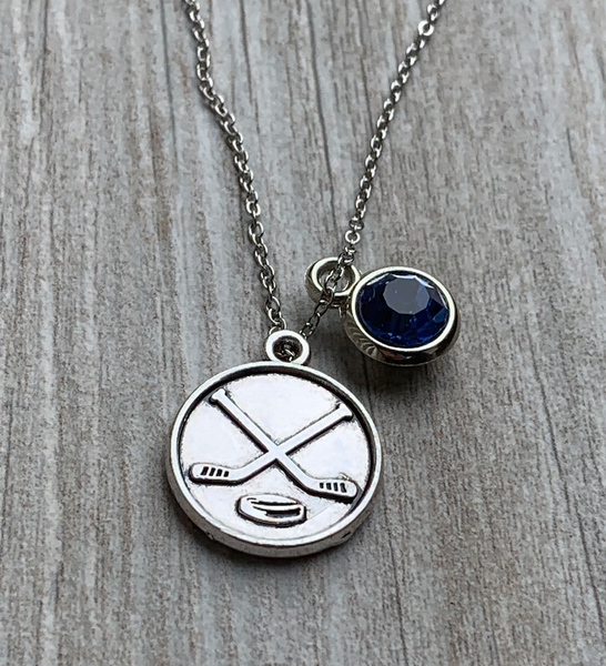 Personalized Ice Hockey Stick Necklace with Birthstone Charm