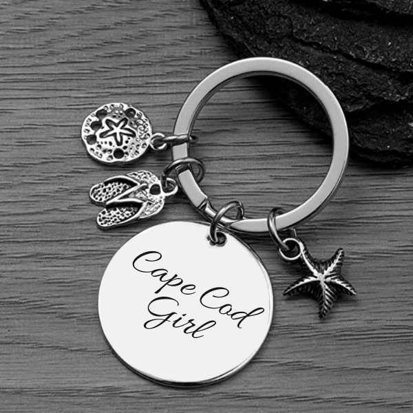 PERSONALIZED BEACH KEYCHAIN WITH ENGRAVED BEACH NAME CHARM