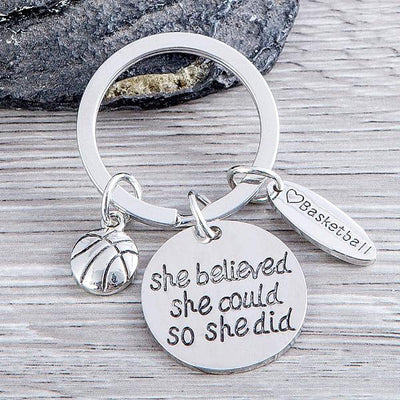 Basketball She Believed She Could So She Did Keychain - Sportybella