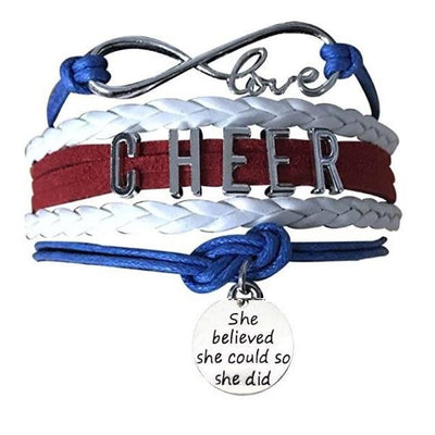 Cheer She Believed She Could Bracelet - 19 Team Colors - Sportybella