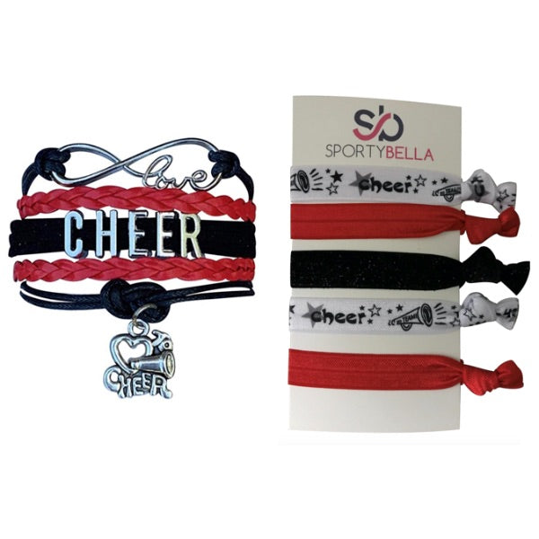 Girls Infinity Cheer Gift Set (Bracelet & Hair Ties)