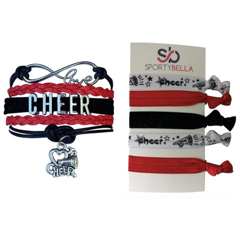 Girls Purple Infinity Cheer Gift Set (Bracelet & Hair Ties)