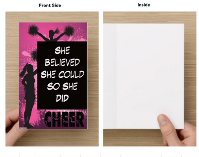Cheer Card - She Believed She Could So She Did - Sportybella